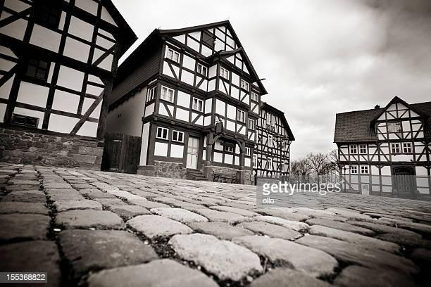 Half-timbered houses - low-angle view