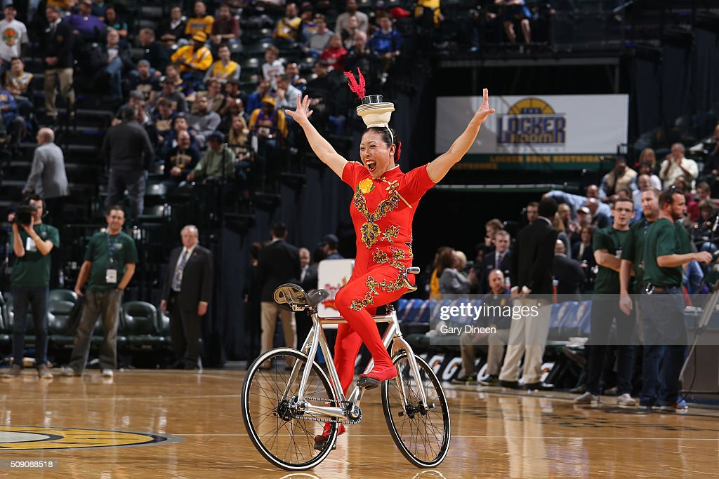 A halftime performer is seen during the game between the Orlando Magic and the Atlanta Hawks on February 8, 2016 at Bankers Life Fieldhouse in Indianapolis, Indiana.