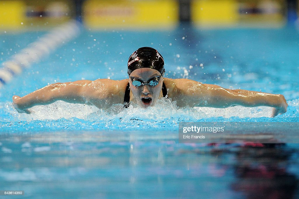 Hali Flickinger competes in a preliminary heat of the Women's 200 Meter Butterfly during Day 4 of the 2016 U.S. Olympic Team Swimming Trials at CenturyLink Center on June 29, 2016 in Omaha, Nebraska.