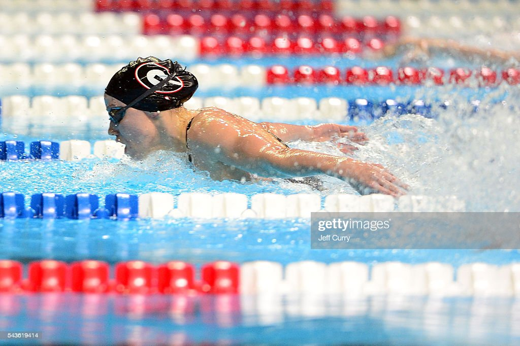 Hali Flickinger of the United States competes in a preliminary heat of the Women's 200 Meter Butterfly during Day 4 of the 2016 U.S. Olympic Team Swimming Trials at CenturyLink Center on June 29, 2016 in Omaha, Nebraska.