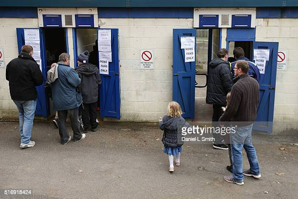 Halifax Fan arrive at The Shay Stadium for the FA Trophy Semi Final Second Leg match between FC Halifax Town and Nantwich Town at The Shay Stadium on...