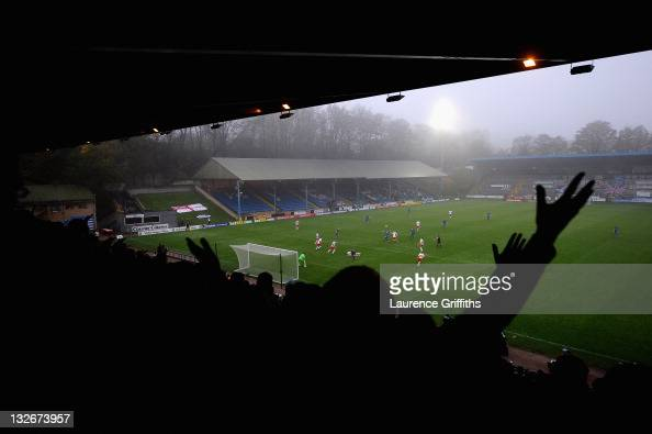 Halifax Fans appeal for a penalty during the FA Cup sponsored by Budweiser First Round match between Halifax Town and Charlton Athletic at the Shay...
