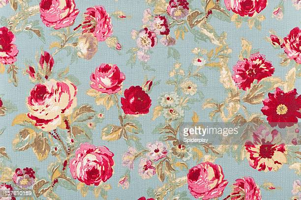 Halifax Rose Sage Close Up Antique Floral Fabric