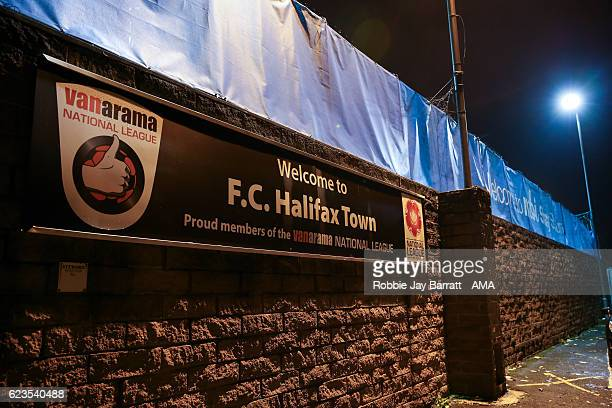 Halifax Town branding outside The MBI Shay Stadium home stadium of FC Halifax Townduring The Emirates FA Cup First Round Replay between FC Halifax...