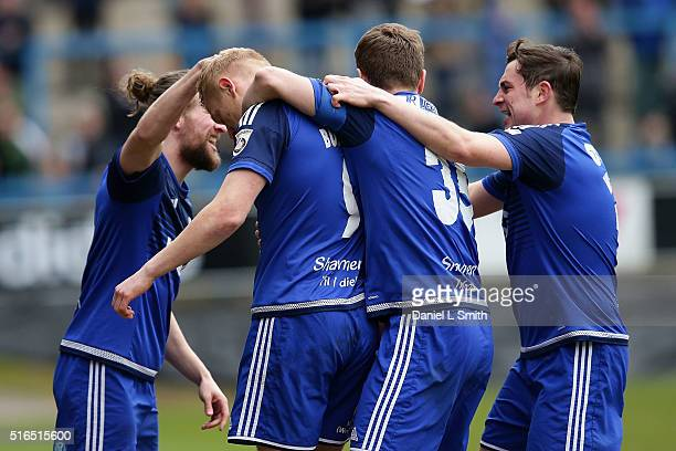 Halifax Town celebrate after Jordan Burrow scores the opening goal during the FA Trophy Semi Final Second Leg match between FC Halifax Town and...