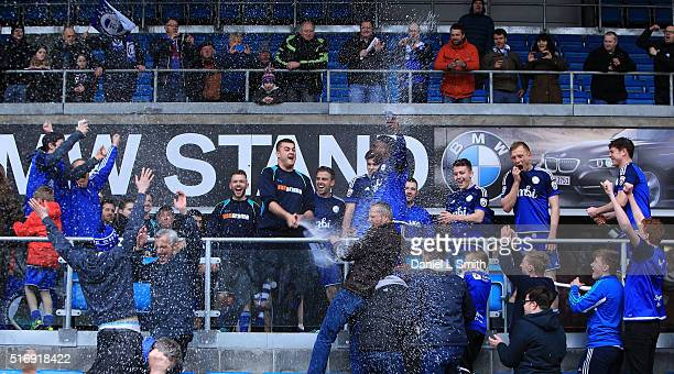 Halifax Town players celebrate making it to the FA Trophy final after drawing with Nantwich Town FC during the FA Trophy Semi Final Second Leg match...