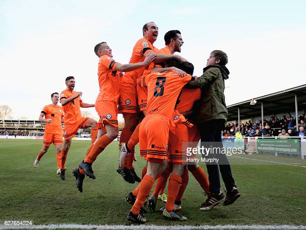 Halifax Town players celebrate their third goal during the Emirates FA Cup Second Round match between Eastleigh FC and FC Halifax Town on December 4...