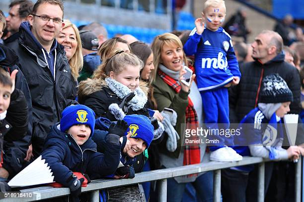 Halifax Town supporters are seen during the FA Trophy Semi Final Second Leg match between FC Halifax Town and Nantwich Town at The Shay Stadium on...