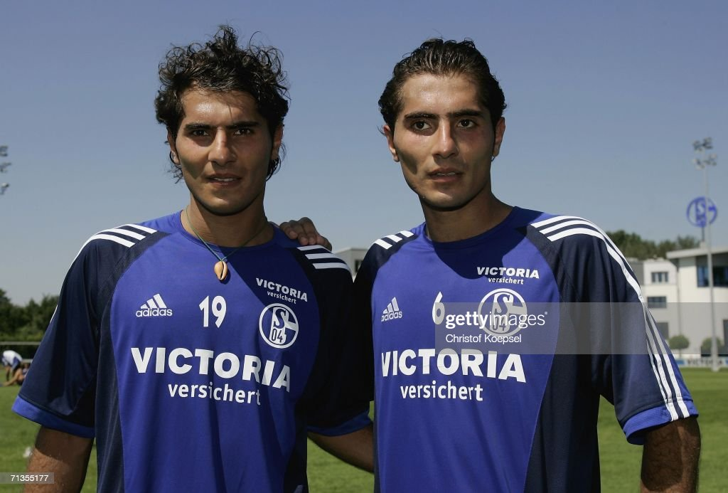 Halil Altintop and Hamit Altintop pose after the FC Schalke 04 training session at the Training Ground on July 3, 2006 in Gelsenkirchen, Germany.