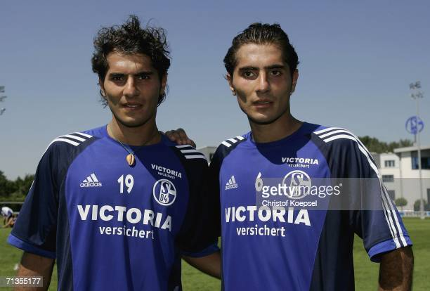 Halil Altintop and Hamit Altintop pose after the FC Schalke 04 training session at the Training Ground on July 3 2006 in Gelsenkirchen Germany