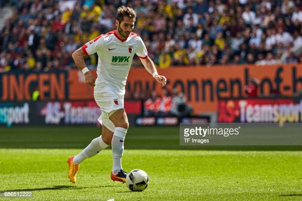 Halil Altintop of Augsburg controls the ball during the Bundesliga match between FC Augsburg and Borussia Dortmund at the WWKArena on May 13 2017 in...