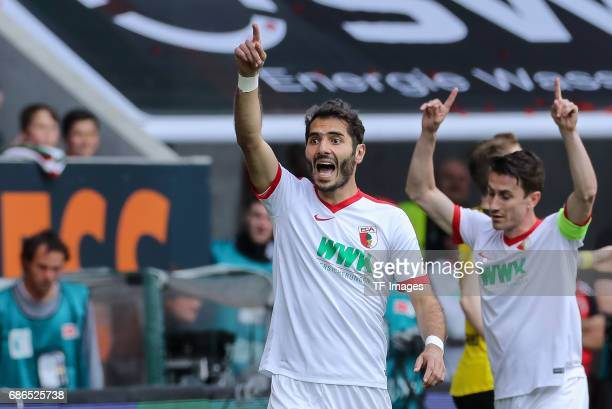 Halil Altintop of Augsburg gestures during the Bundesliga match between FC Augsburg and Borussia Dortmund at the WWKArena on May 13 2017 in Augsburg...