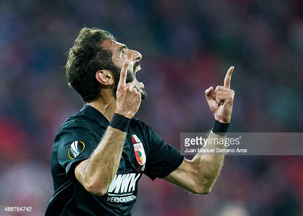 Halil Altontop of FC Augsburg celebrates after scoring during the UEFA Europa League match between Athletic Club and FC Augsburg at San Mames Stadium...