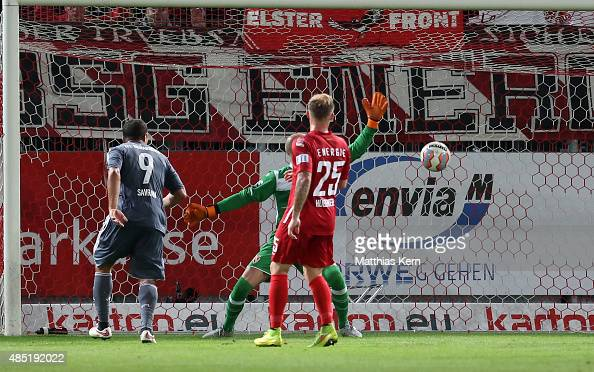 Halil Savran of Osnabrueck scores the third goal during the third league match between FC Energie Cottbus and VFL Osnabrueck at Stadion der...