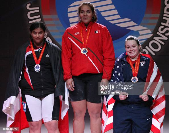 Halima Abdel Aziem of Egypt A Junior World Champion Gladis Bueno of Mexico and Marissa Eileen Klingseis of US in the podium of Women's 75kg during...