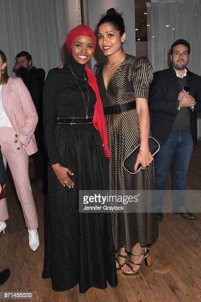 Halima Aden and Freida Pinto attend the Forevermark Tribute event on November 7 2017 in New York City