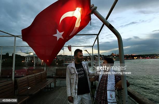 Halit Tekin embraces his nephew Harun Yahya aboard the Turkish ship MV Mavi Marmara which is docked in the Port of Istanbul Turkey on the fourth...