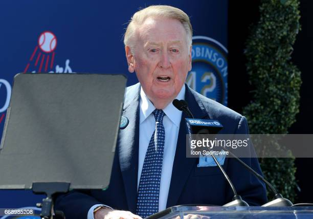 Hall of Fame announcer Vin Scully gives a speech during the Jackie Robinson statue unveiling before the game against the Arizona Diamondbacks on...