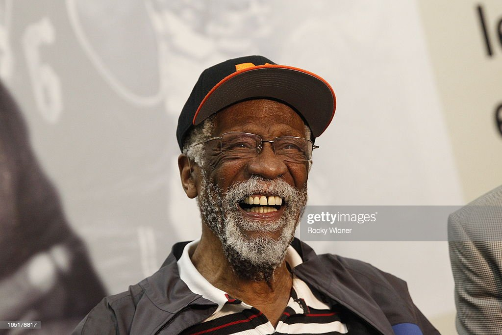 Hall of Fame basketball player <a gi-track='captionPersonalityLinkClicked' href=/galleries/search?phrase=Bill+Russell+-+Basketball+Player&family=editorial&specificpeople=11524303 ng-click='$event.stopPropagation()'>Bill Russell</a> during an unveiling ceremony on March 26, 2013 at McClymonds High School in Oakland, California.