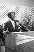 Hall of Fame basketball star Elgin Baylor speaks to members of the press after being named General Manager of the Los Angeles Clippers Baylor who...