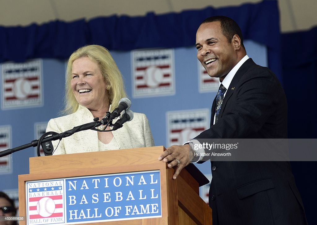 Hall of Fame Chairman Jane Forbes Clark (L) and 2012 HOF inductee <a gi-track='captionPersonalityLinkClicked' href=/galleries/search?phrase=Barry+Larkin&family=editorial&specificpeople=204522 ng-click='$event.stopPropagation()'>Barry Larkin</a> share a laugh during the National Baseball Hall of Fame Induction Ceremony on July 27, 2014 in Cooperstown, New York.