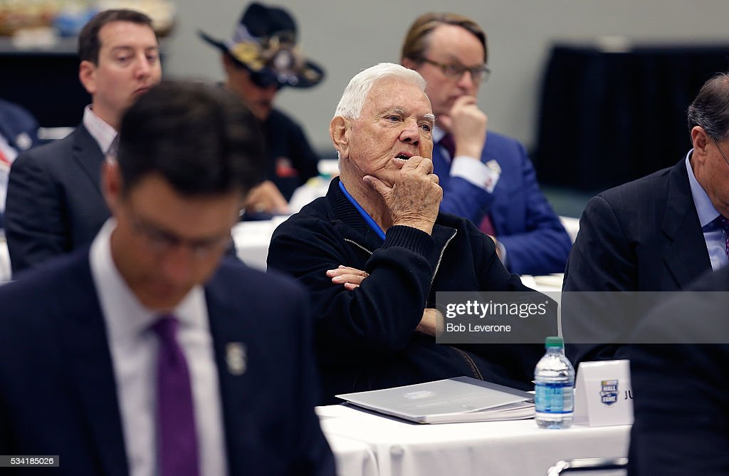 Hall of Fame driver <a gi-track='captionPersonalityLinkClicked' href=/galleries/search?phrase=Junior+Johnson&family=editorial&specificpeople=2545660 ng-click='$event.stopPropagation()'>Junior Johnson</a> considers a candidate along with his fellow voters at the Charlotte Convention Center on May 25, 2016 in Charlotte, North Carolina.