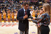 Hall of Fame forward Elgin Baylor is honored during halftime of the game between the Golden State Warriors and Los Angeles Lakers on November 16 2014...