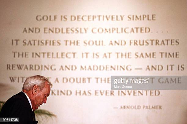 Hall of Fame golfer Arnold Palmer leaves a press conference prior to the World Golf Hall of Fame induction ceremonys on November 2 2009 in St...