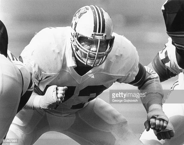 Hall of Fame guard John Hannah of the New England Patriots sets to block in a 27 to 21 overtime loss to the Pittsburgh Steelers on