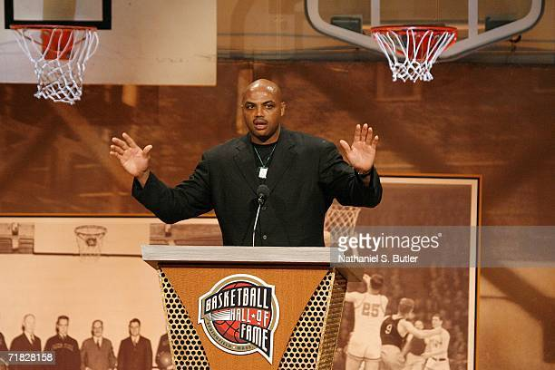 Hall of Fame inductee Charles Barkley speaks to the crowd during the 2006 Basketball Hall of Fame induction ceremony on September 8 2006 at the...