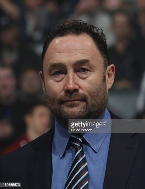 Hall of Fame inductee Ed Belfour takes part in the Hall blazer presentation prior to the Legends of Hockey game at the Air Canada Centre on November...