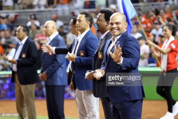 Hall of Fame inductee Ivan Rodriguez looks on during pregame ceremony prior to the 88th MLB AllStar Game at Marlins Park on Tuesday July 11 2017 in...
