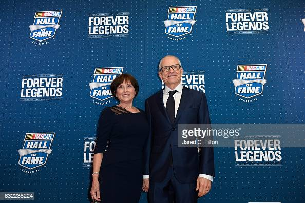 Hall of Fame inductee Mark Martin poses on the red carpet with his wife Arlene prior to the NASCAR Hall of Fame Class of 2017 Induction Ceremony at...