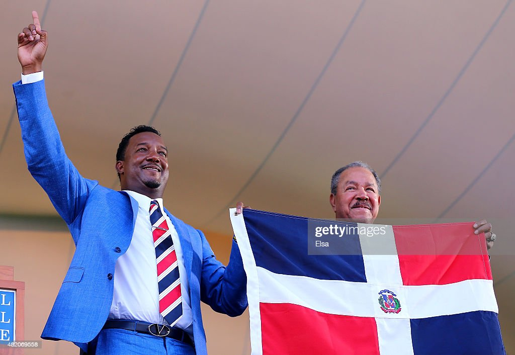 Hall of Fame inductee Pedro Martinez poses with Juan Marichal after the Induction Ceremony at National Baseball Hall of Fame on July 26 2015 in...