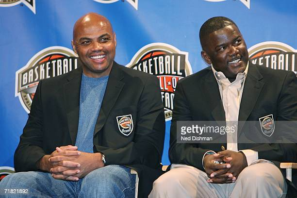 Hall of Fame inductees Charles Barkley and Joe Dumars laugh during the 2006 Basketball Hall of Fame Press Conference on September 8 2006 at the...
