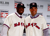 Hall of Fame inductees Ken Griffey Jr and Mike Piazza pose for a picture during the press conference announcing the 2016 Hall of Fame inductees at...