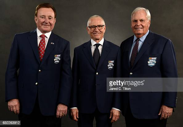 Hall of Fame inductees Richard Childress Mark Martin and Rick Hendrick pose for a portrait prior to the NASCAR Hall of Fame Class of 2017 Induction...