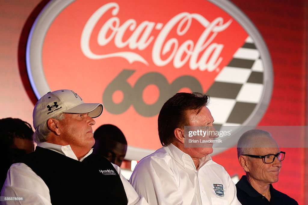 Hall of Fame inductees <a gi-track='captionPersonalityLinkClicked' href=/galleries/search?phrase=Rick+Hendrick&family=editorial&specificpeople=596436 ng-click='$event.stopPropagation()'>Rick Hendrick</a>, <a gi-track='captionPersonalityLinkClicked' href=/galleries/search?phrase=Richard+Childress&family=editorial&specificpeople=604335 ng-click='$event.stopPropagation()'>Richard Childress</a>, and <a gi-track='captionPersonalityLinkClicked' href=/galleries/search?phrase=Mark+Martin&family=editorial&specificpeople=204455 ng-click='$event.stopPropagation()'>Mark Martin</a> look on at the driver's meeting prior to the NASCAR Sprint Cup Series Coca-Cola 600 at Charlotte Motor Speedway on May 29, 2016 in Charlotte, North Carolina.