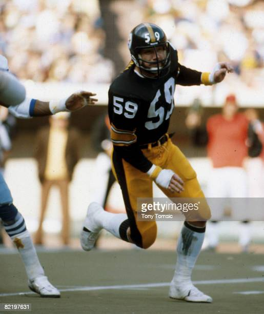 Hall of Fame linebacker Jack Ham pass rushes during a 143 win over the Dallas Cowboys on October 28 1979 at Three Rivers Stadium in Pittsburgh...