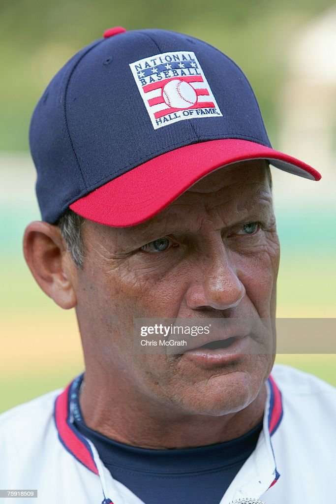 Hall of Fame member George Brett talks during the Play Ball with Ozzie Smith Clinic held at Doubleday Field on July 27, 2007 in Cooperstown, New York.