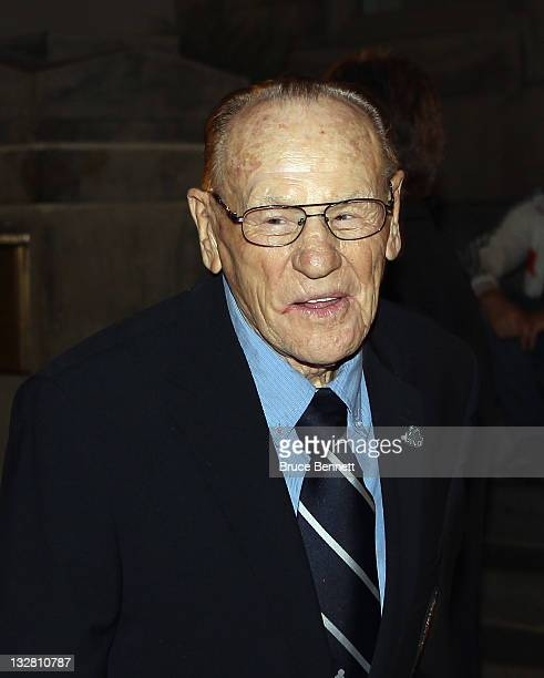 Hall of Fame member Johnny Bower walks the red carpet prior to the 2011 Hockey Hall of Fame Induction ceremony at the Hockey Hall Of Fame on November...