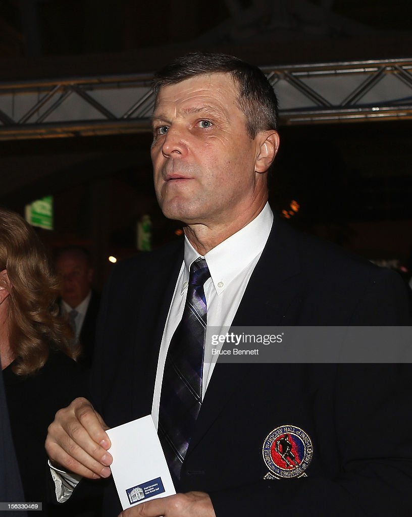 Hall of Fame member Peter Stastny arrives for the Hockey Hall of Fame induction ceremony at Brookfield Place on November 12, 2012 in Toronto, Canada.