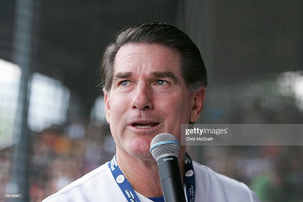 Hall of Fame member Steve Garvey talks to the fans during the Play Ball with Ozzie Smith Clinic held at Doubleday Field on July 27, 2007 in Cooperstown, New York.