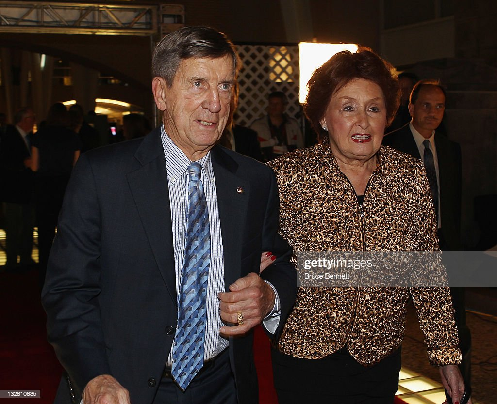 Hall of Fame member Ted Lindsay and his wife Joanne walks the red carpet prior to the 2011 Hockey Hall of Fame Induction ceremony at the Hockey Hall Of Fame on November 14, 2011 in Toronto, Ontario, Canada.