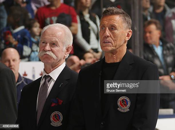 Hall of Fame members Lanny McDonald and Borje Salming take part in a ceremony prior to the game between the Toronto Maple Leafs and the Pittsburgh...