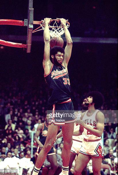Hall of Fame NBA center Kareem AbdulJabbar of the Milwaukee Bucks 1973 Chicago Il