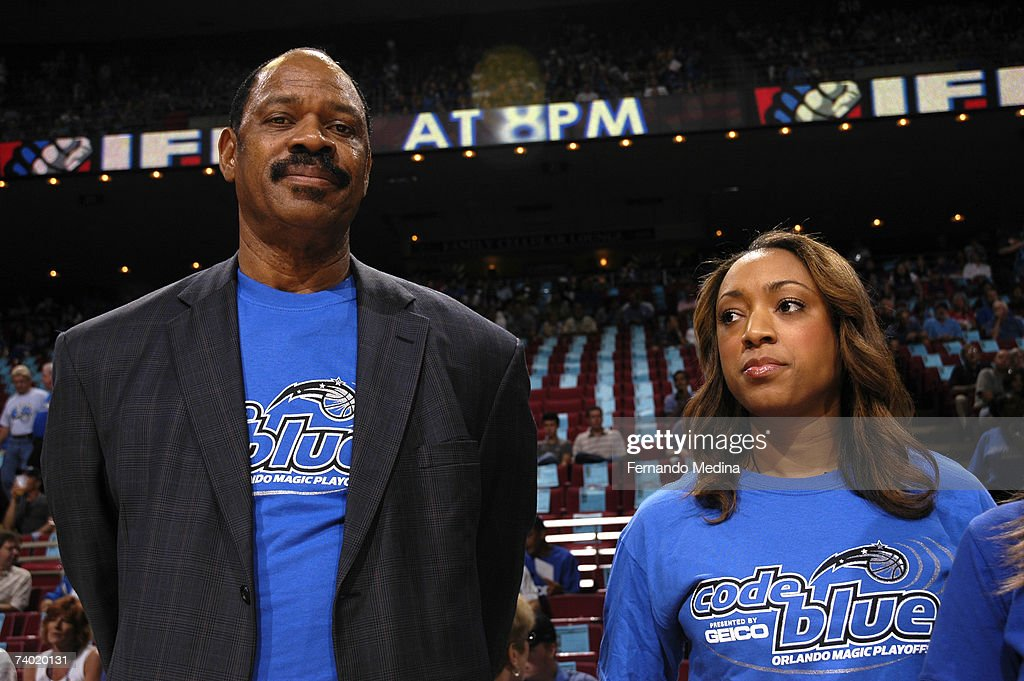 Hall of Fame NBA Legend Artis Gilmore and his daughter Shawna Gilmore present the game ball in Game Four of the Eastern Conference Quarterfinals during the 2007 NBA Playoffs at Amway Arena on April 28, 2007 in Orlando, Florida.