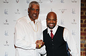 Hall of Fame NBA Player Julius Erving is welcomed by Ken Ford at the Ken Ford 'State of Mind' album release performance and reception at the Buckhead...