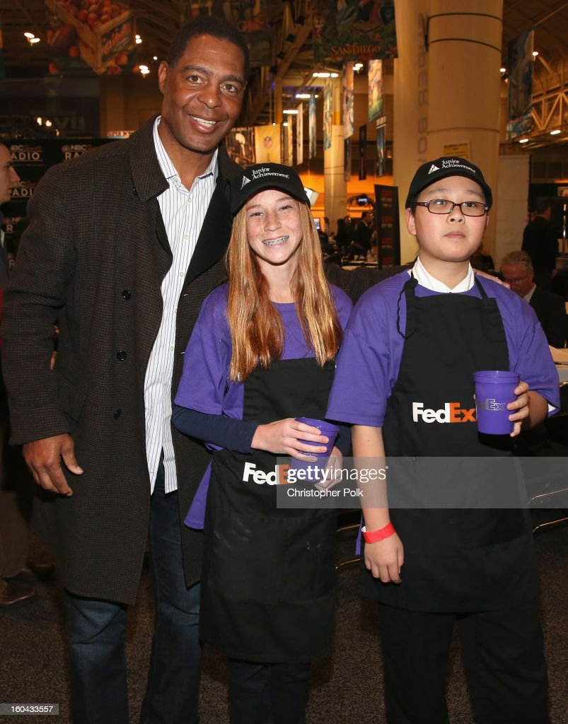Hall of Fame player and football analyst <a gi-track='captionPersonalityLinkClicked' href=/galleries/search?phrase=Marcus+Allen&family=editorial&specificpeople=215191 ng-click='$event.stopPropagation()'>Marcus Allen</a> attends the FedEx lemonade stand with Junior Achievement students in the Super Bowl XLVII Media Center, one of the most highly-trafficked venues of the Super Bowl city. The event celebrated the 10th season of the FedEx Air & Ground NFL Players of the Year awards and allowed the students to run their first business.