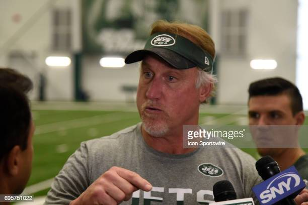 Hall of Fame player and now linebackers coach Kevin Greene talks with reporters during the NY Jets minicamp on June 13 at Atlantic Health Training...